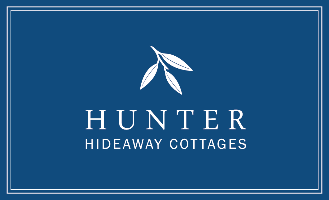 Blue and white logo | Hunter Hideaway Cottages- Hunter Valley